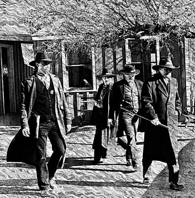 Gunfight Digital Art - Earp Brothers And Doc Holliday On The Move by Robb Rezak
