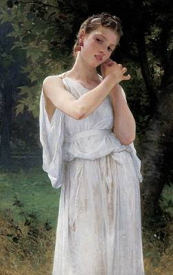 Wistful Painting - Earrings by William Adolphe Bouguereau
