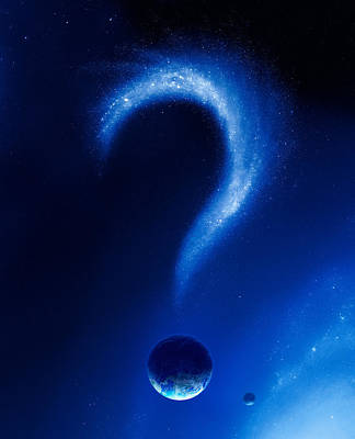 Earth And Question Mark From Stars Art Print