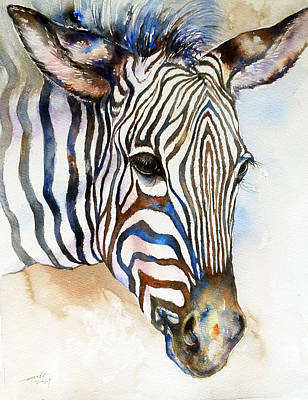 Zebra Art Painting - Earth And Sky_zebra Portrait by Arti Chauhan