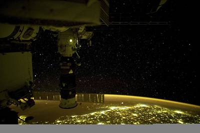 Earth At Night, Iss Image Art Print by Science Photo Library