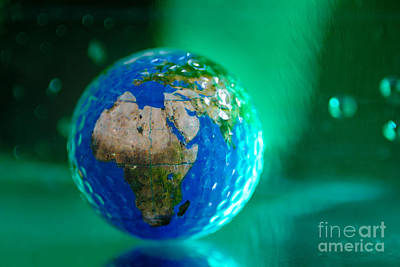 Earth Bathed In Green Energy Art Print