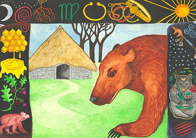 Inner World Painting - Earth Bear Healing by Cat Athena Louise