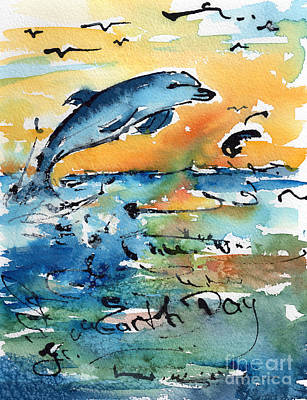 Earth Day Dolphin Watercolor By Ginette Art Print