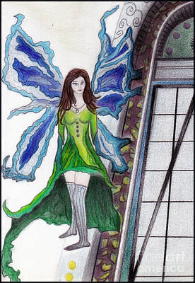 Drawing - Earth Fairy by Angie Staft