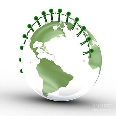 Help Digital Art - Earth Globe And Conceptual People Together by Michal Bednarek