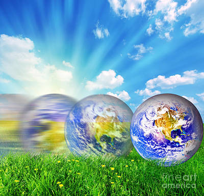 Global Photograph - Earth Globe Rolling On Green Grass by Michal Bednarek