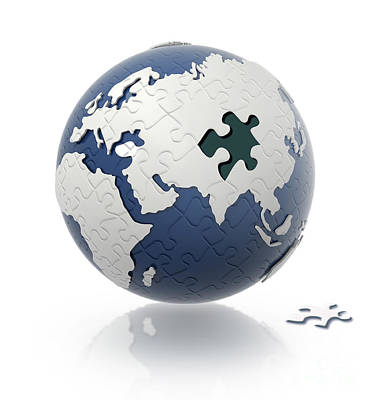 Separation Digital Art - Earth Globe With Puzzle Pattern And One by Leonello Calvetti