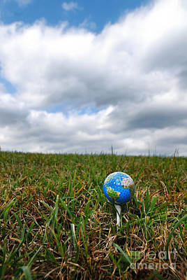 Earth Golf Ball On Tee Art Print by Amy Cicconi