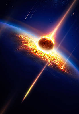 Flaming Digital Art - Earth In A  Meteor Shower by Johan Swanepoel