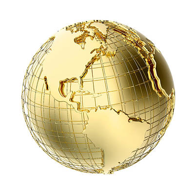 Global Photograph - Earth In Gold Metal Isolated On White by Johan Swanepoel