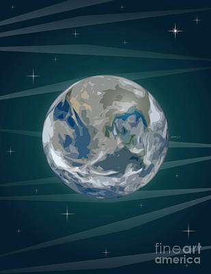 Abstract Digital Art - Earth In Space by Phil Perkins