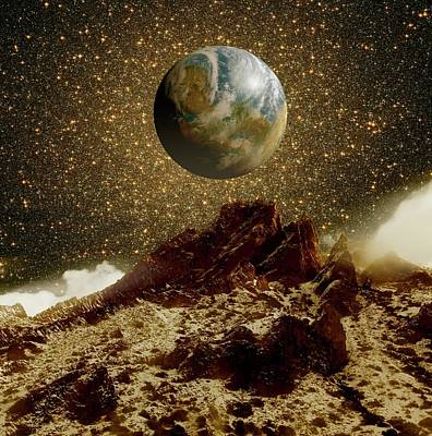 Earth-like Planet And Omega Centauri Art Print