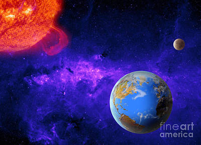 Digital Imaging Photograph - Earth, Moon, And Sun by Mike Agliolo