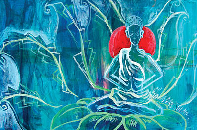 Lotus Bud Painting - Earth Mother by Tanya Kimberly Orme