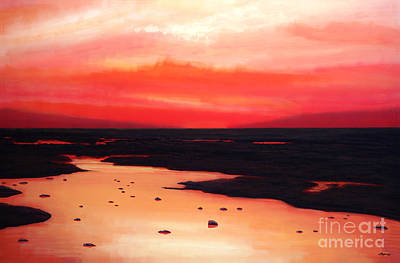 Red Sky Wall Art - Painting - Earth Swamp by Paul Meijering