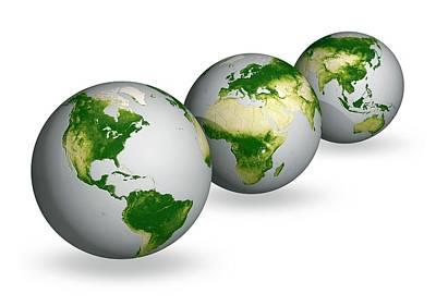 Trio Photograph - Earth Vegetation Globes by Carlos Clarivan