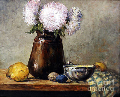 Painting - Earthen Pot With Chrysanthemums by Grigor Malinov