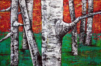 Birch Tree Painting - Earthly Delights by Laura Barbosa