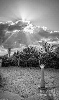 Day Break Photograph - Earthly Light And Heavenly Light - Black And White by Ian Monk