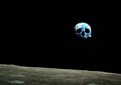 Earthrise As Skull Print by Animate4.com/science Photo Libary