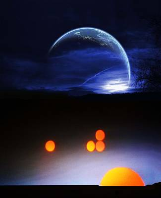 Solar Eclipse Digital Art - Earthrise by Bruce Iorio