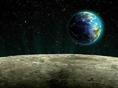 Digital Art - Earthrise From The Moon, Artwork by Andrzej Wojcicki
