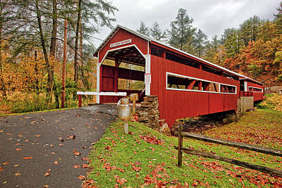 Fall Photograph - East And West Paden Twin Bridges by Marcia Colelli