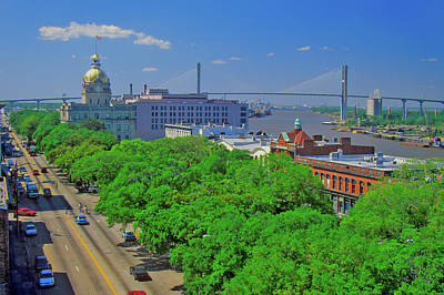 East Bay Photograph - East Bay Street, City Hall And Savannah by Panoramic Images