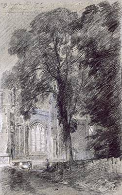Cow Drawing - East Bergholt Church - West End by John Constable