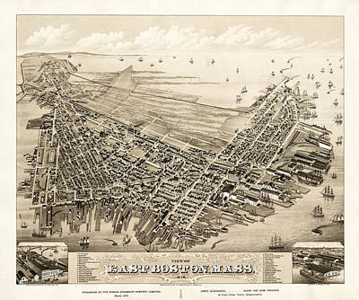 Vintage Map Photograph - East Boston 1879 by Andrew Fare