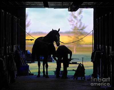Barns Digital Art - East Door Farrier by Judy Wood