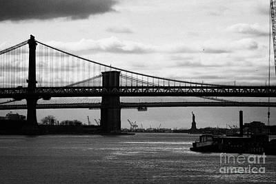 East River New York City Brooklyn Manhattan Bridges Art Print by Joe Fox