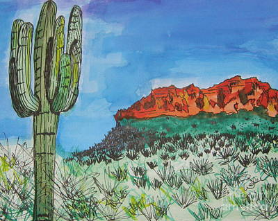 Painting - East Valley Mountains by Marcia Weller-Wenbert