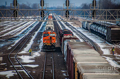 Photograph - Eastbound And Westbound Trains by Ronald Grogan