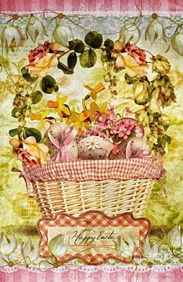 Joy Mixed Media - Easter Basket by Mo T