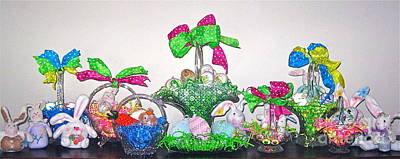 Photograph - Easter Baskets In A Row  by Nancy Patterson