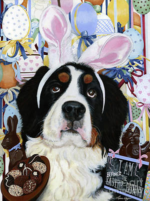 One Of A Kind Painting - Easter Berner Bunny Duties by Liane Weyers