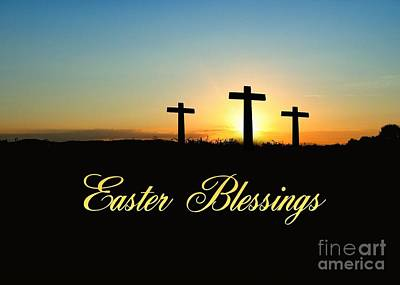 Digital Art - Easter Blessings Crosses by JH Designs