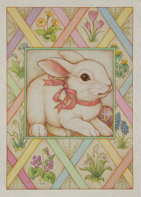 Easter Eggs Painting - Easter Bunny by Lynn Bywaters