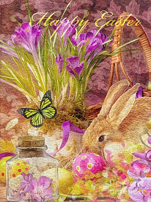 Easter Bunny Art Print by Mo T