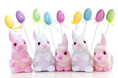 Animals Photos - Easter bunny toys 2 by Elena Elisseeva