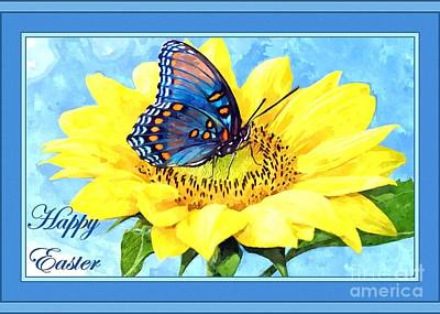 Digital Art - Easter Butterfly And Flower by JH Designs