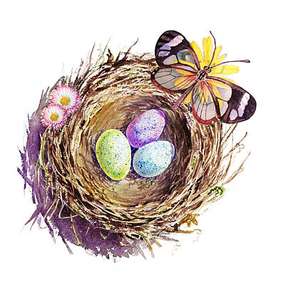 Robin Painting - Easter Colors Bird Nest by Irina Sztukowski