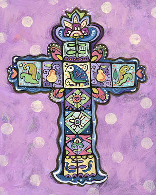 Pear Tree Painting - Easter Cross On Orchid by Jen Norton