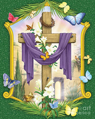 Digital Art - Easter Cross by Randy Wollenmann