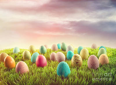 Photograph - Easter Eggs In Grass  by Sandra Cunningham