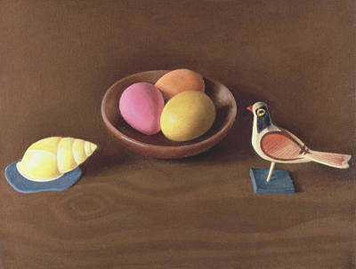 Photograph - Easter Eggs, Shell And Bird Oil On Canvas by Tomar Levine