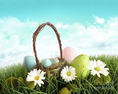 Photograph - Easter Eggs With  Basket In The Grass by Sandra Cunningham