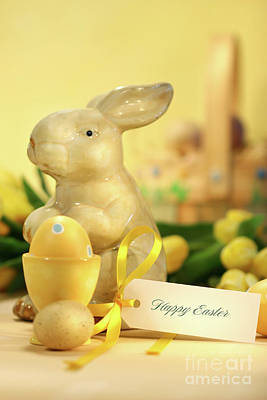 Photograph - Easter Eggs With Bunny by Sandra Cunningham
